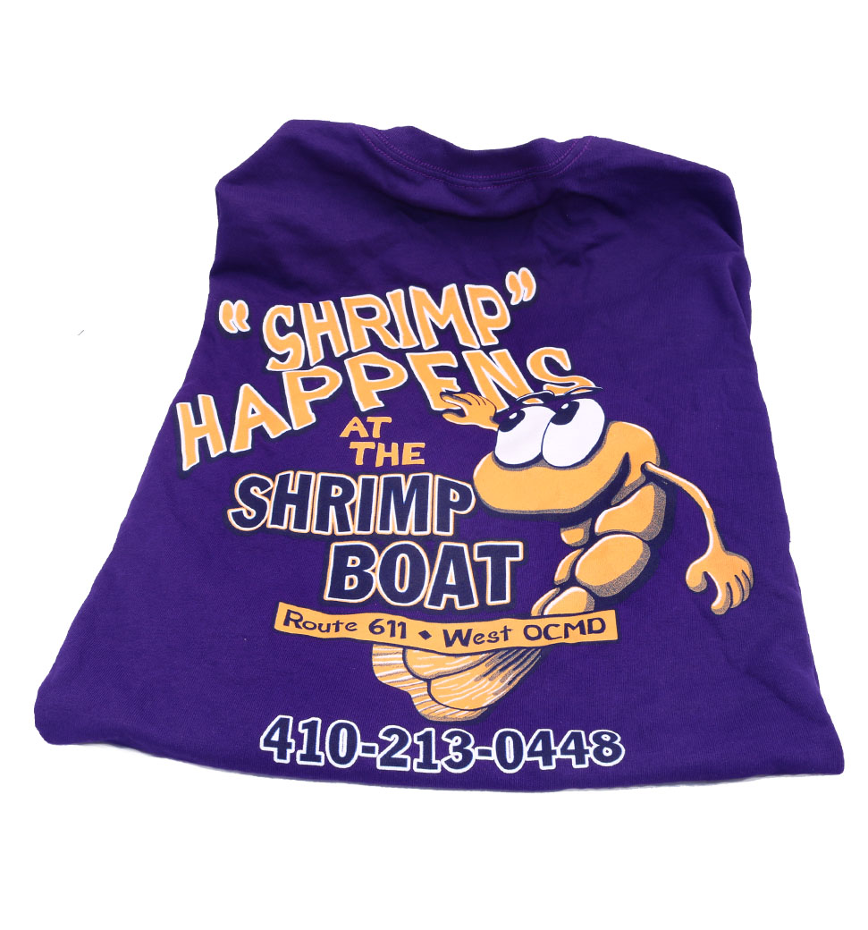 Shrimp Happens purple shirt